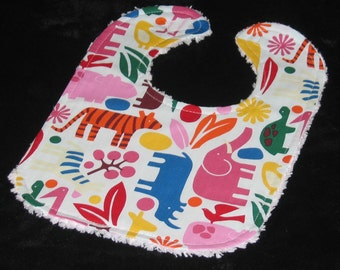Alexander Henry Bright 2D Zoo and Chenille Boutique Bib - SALE