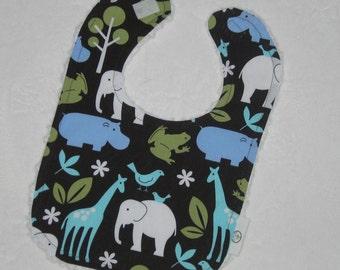 Blue Zoology Fabric and Chenille Bib