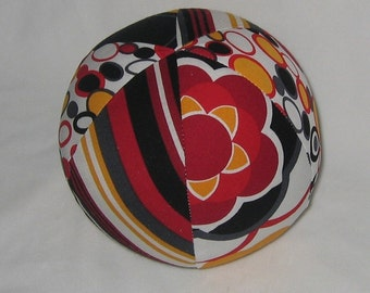 Black Red Yellow Kleo Fabric Boutique Baby Ball Rattle Toy - SALE