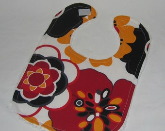Alexander Henry Black Red Yellow Kleo Fabric and Chenille Boutique Bib - SALE