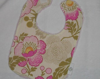 Amy Butler Pink  Poppies and Chenille Bib