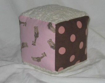 Pink Tossed Giraffes and Chenille Fabric Block Rattle - SALE