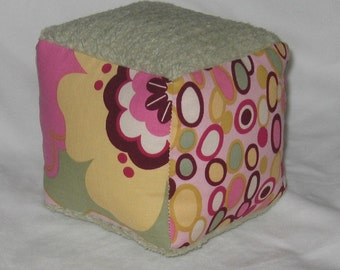 Pink Kleo and Dots Fabric Baby Block Rattle - SALE