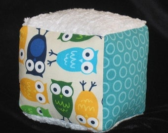 Blue Urban Zoologie Owls and Chenille Fabric Block Rattle