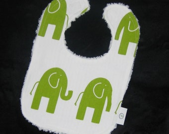 Fun Lime Green Elephants and Chenille Bib