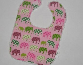 Pink Urban Zoo Elephants Fabric and Chenille Bib
