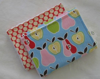 Set of 2 Mod Apples Pears and Chenille Burp Cloths - SALE
