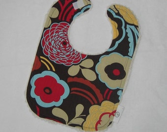 Alexander Henry Mocca Mod Flowers and Chenille Boutique Bib - SALE