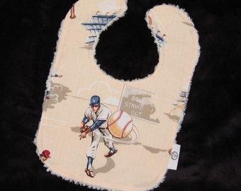 A. Henry Baseball Fabric and Chenille Bib - SALE