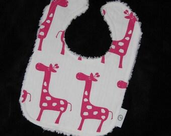 Fun Hot Pink Giraffes and Chenille Boutique Bib