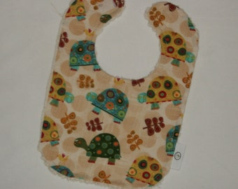 Turtle Fabric and Chenille Boutique Bib