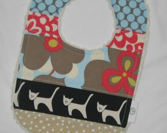 Scrappy Amy Butler Lotus and Cats Chenille Boutique Bib