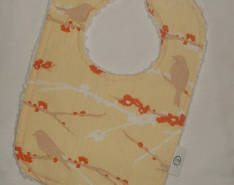 Yellow Dewberry Sparrows and Chenille Boutique Bib