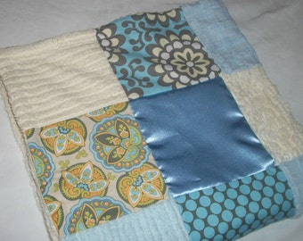 Gorgeous Blue Amy Butler Fabric and Chenille Patchwork Blanket - SALE