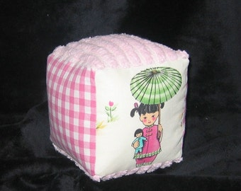 China Doll, Pink Gingham, Chenille Fabric Baby Block Rattle Toy - SALE
