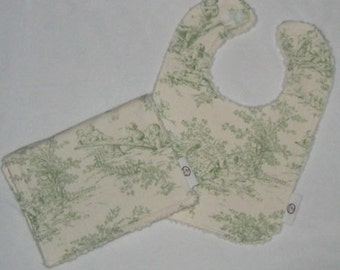Sage Central Park Toile and Chenille Bib and Burp Cloth Set