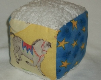 Kelly B. Rightsell Circus and Chenille Fabric Block Rattle Toy - SALE