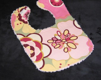 Pink Kleo Fabric and Chenille Boutique Bib - SALE