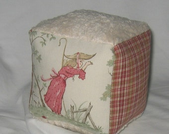 Sage Over The Moon Toile and Chenille Baby Block Rattle Toy -SALE