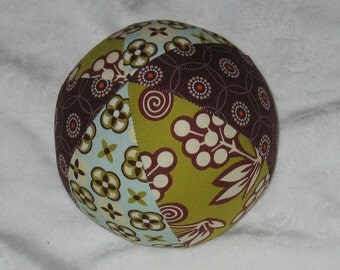 Ginger Bliss Brown Blue Olive Fabric Ball Rattle - SALE