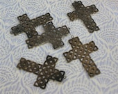 Vintage antiqued brass cross pendants - 5
