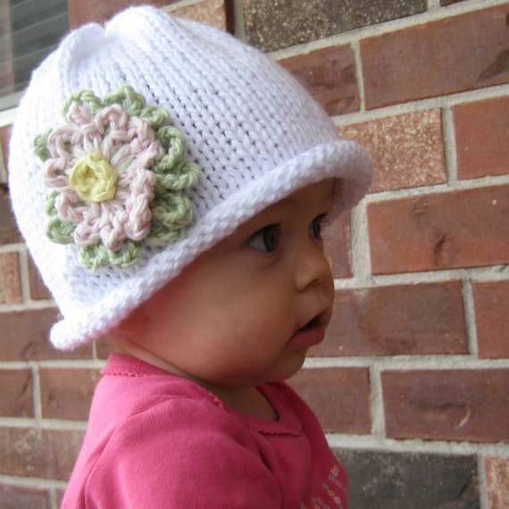 Organic Cotton Knit Flower Hat