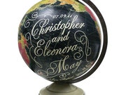 Custom Wedding or Anniversary, Vintage Globe Art