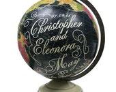Vintage Globe Art, Customized Wedding or Anniversary Gift, Personalized Black World Globe
