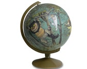 Vintage Globe Art, Where The Wild Things Are, Cut from the Book, World Globe Art