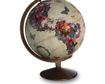 Vintage Globe Art, Flutter By, Butterfly Globe Art, Butterflies World Globe