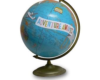 Vintage Globe Art, Adventure Awaits, Mod World Globe Art
