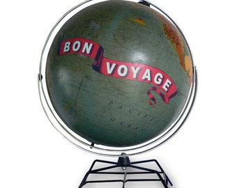 Vintage Globe Art, Bon Voyage, Travel World Globe Art