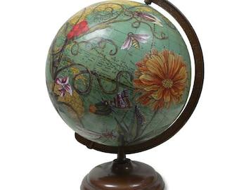 Vintage Globe Art, Ceres, Botanical, World Globe Art