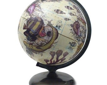 Vintage Globe Art, Neptune, Nautical World Globe, Beach House Globe Art