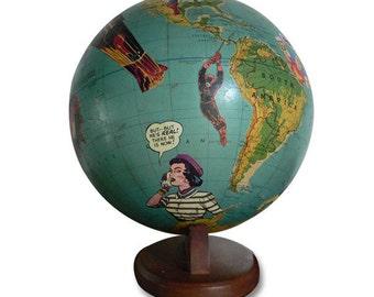Vintage Globe Art, Rescue Me, Superhero, Boys Room, World Globe Art
