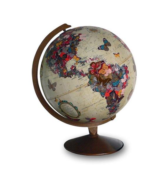 Flutter By, Vintage Globe Art