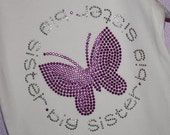 BIG SISTER circle with butterfly rhinestud  tee by Daisy Creek Designs