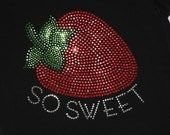 SO SWEET with strawberry rhinestud  tee by Daisy Creek Designs