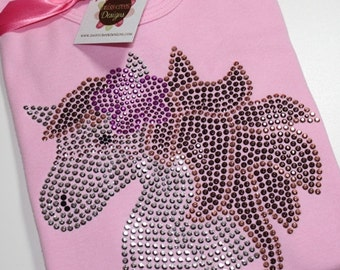 HORSE HEAD with flower short sleeve rhinestud tee by Daisy Creek Designs