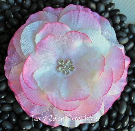 Light Pink Jeweled Rhinestone Flower Hair Clip