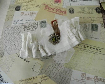 Wedding Garter, Tattered Woodland Fairy, Feathered Vintage Rhinestones