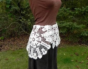 Victorian Lace Overskirt, Capelet,  Tie On Lace Overskirt Skirt, Bustle, Vintage Crochet,  Marie Antoinette, Steampunk Woodland