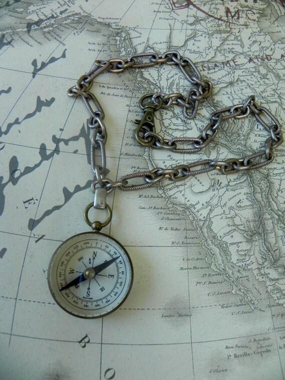 Vintage Brass Compass, Vintage Brass  Unisex Necklace, Steampunk