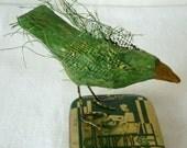 Green Crow on Deco Tin - - Free USA Shipping