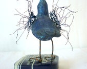 Blue Crow on Typewriter Tin - - Free USA Shipping