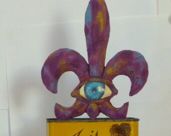 Triple Iris' Tin - LARGE Wood Carving and Tin, not your Momma's spice tin size