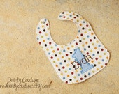 Boys First Birthday Bib  - Personalized bib in muted brown, blue, red, and yellow dots