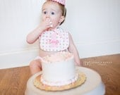Girls First Birthday Party Hat and Bib - Pink and green dots with pink accents - Free personalization