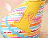 Girl Birthday Hat - Sunny stripes in yellow, aqua, pink, and green - Free personalization