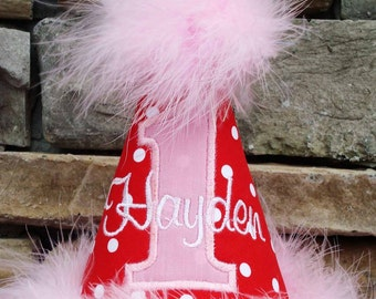 Girl 1st birthday hat - Red, pink and white - applique and monogram included